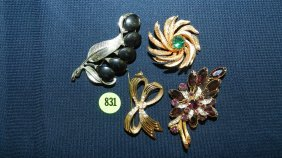 831: great collection of estate jewelry, brooches