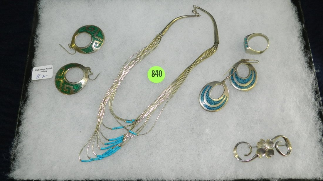 840: great collection of estate jewelry, turquoise neck