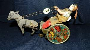 926: Antique Wind Up Tin Toy Clown Donkey Cart Lehmann