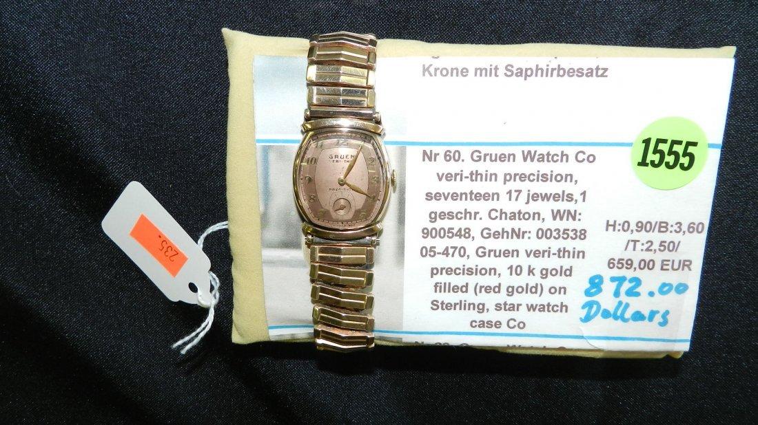 1555: super, mens Gruen 10KT gold filled wrist watch