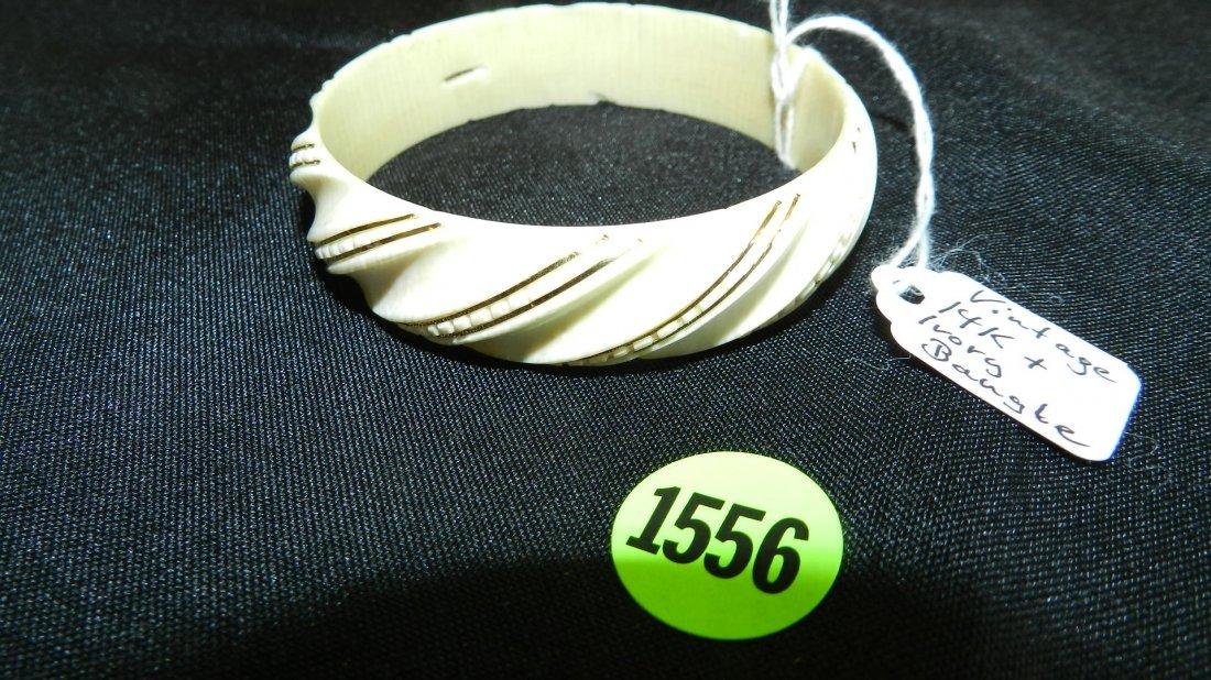 1556: unique antique gold (stamped 585) =14KT & Ivory B