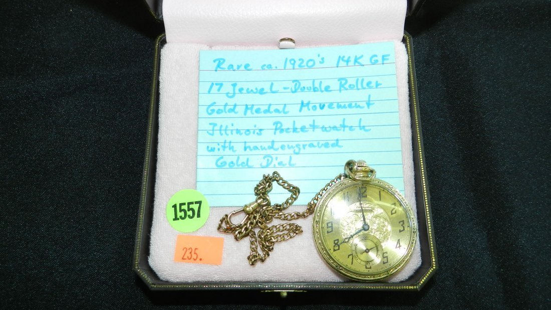 1557: antique 1920's mens pocket watch gold plated, dou