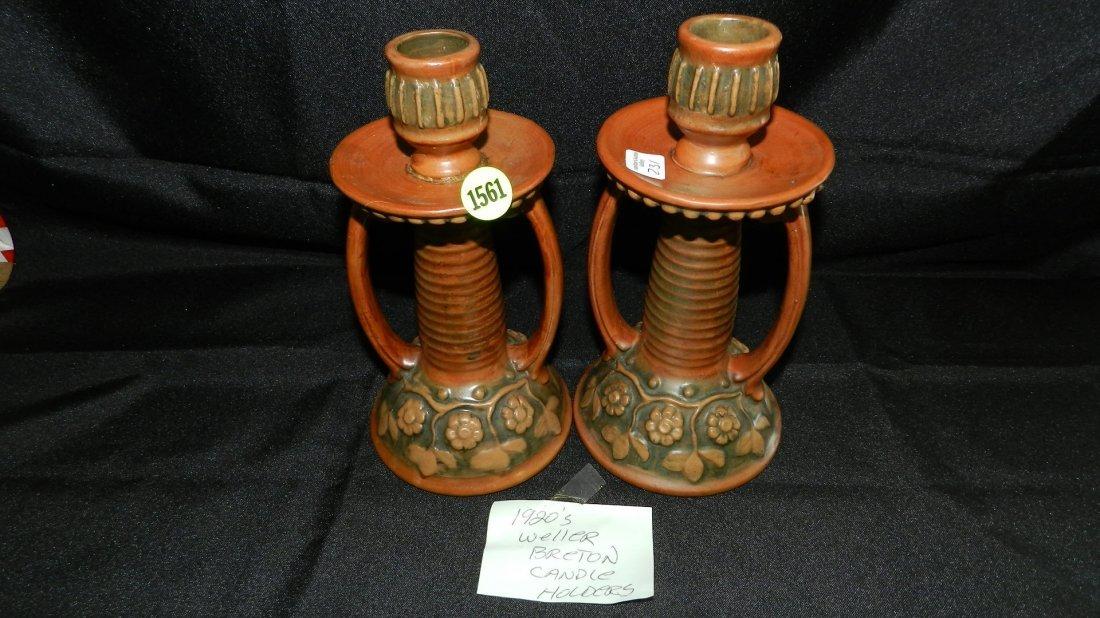 1561: 2 piece Weller Breton candlestick holders (one sh