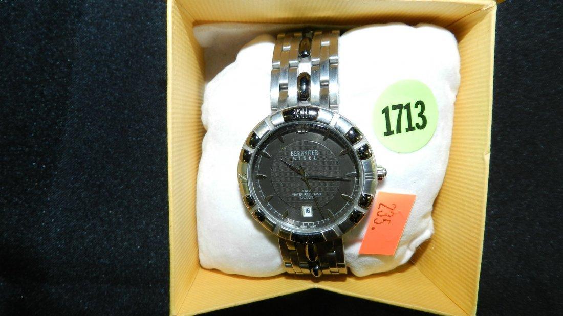 1713: vintage men's Berenger steel wrist watch