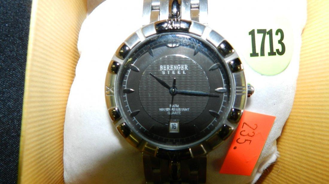 1713: vintage men's Berenger steel wrist watch - 2