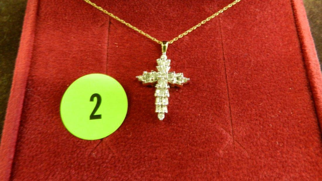 2: ladies 14KT gold & diamond cross and chain