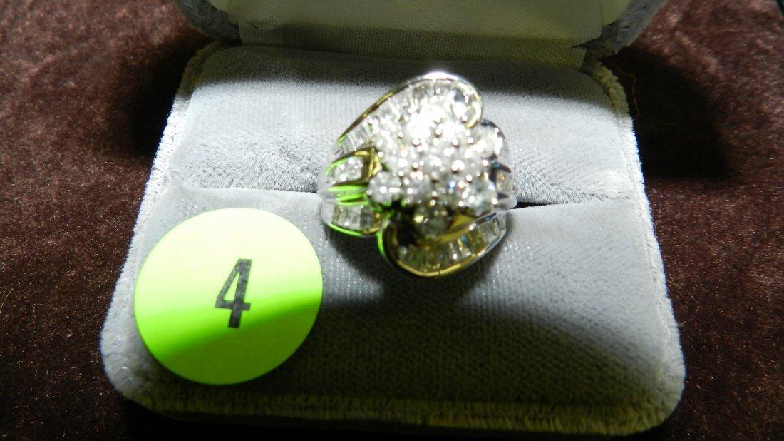 4: beautiful ladies multi cut diamond cluster and 10KT