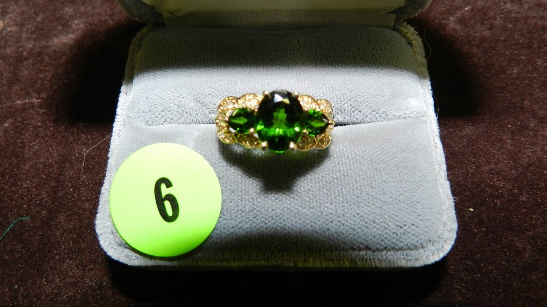 6: nice ladies gold (14KT) and diamond rign with large