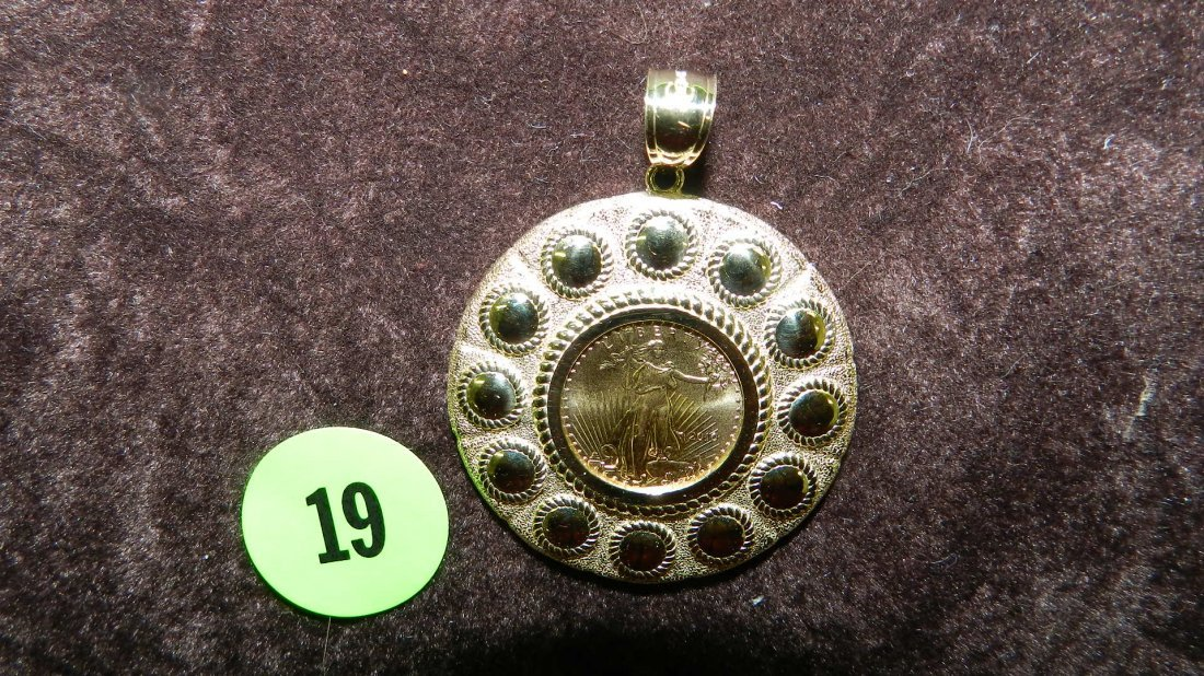 19: nice ladies gold (14KT) pendant with US gold coin i
