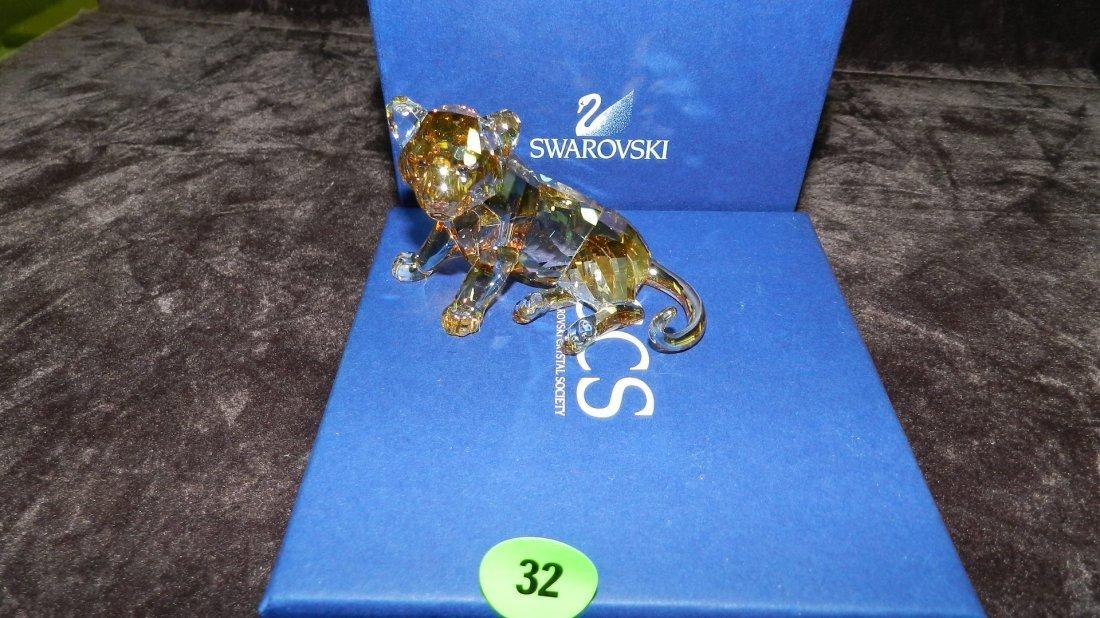 32: great Swarovski crystal lion cub figurine in box