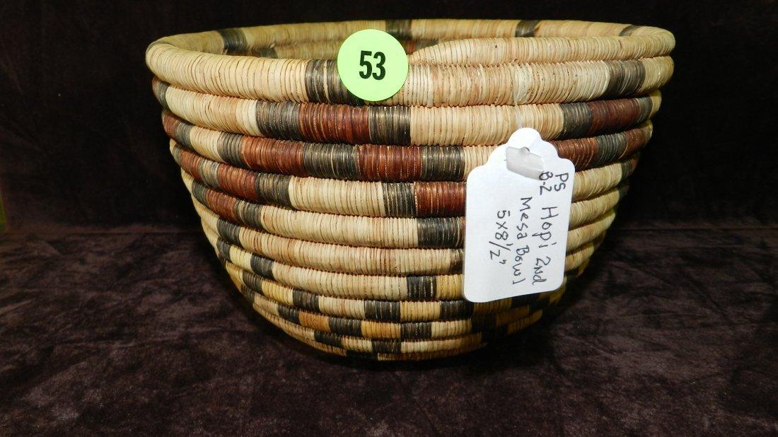 53: authentic Native American handmade woven basket / b