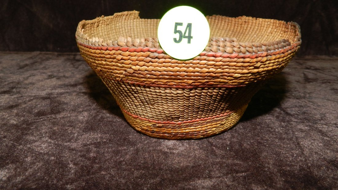 54: authentic Native American handmade woven basket / b