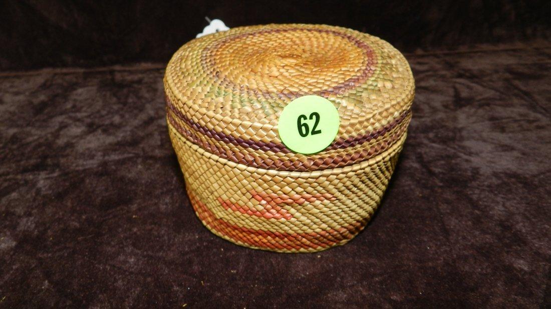 62: authentic Native American handmade woven basket / b
