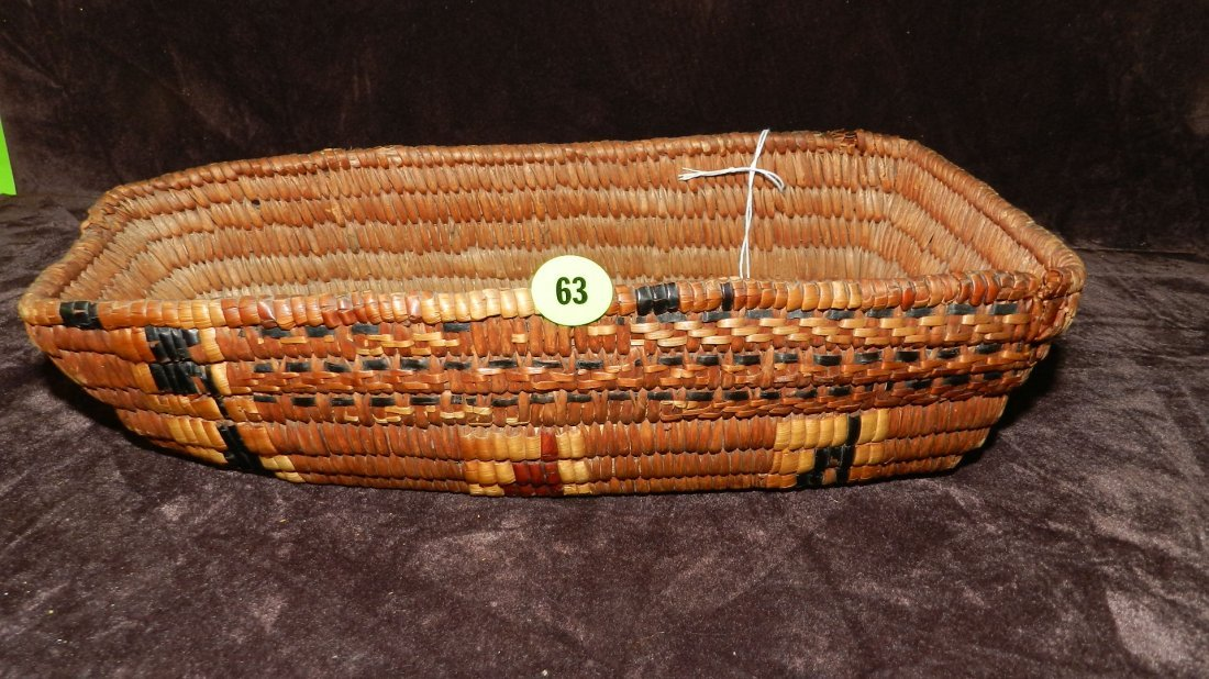 63: authentic Native American handmade woven basket / F