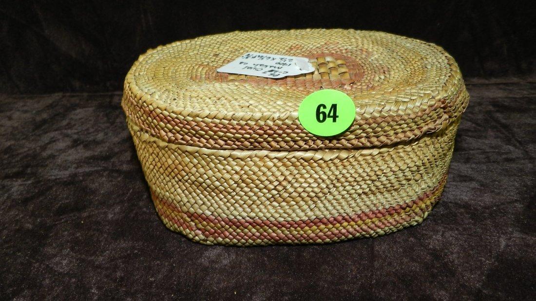 64: authentic Native American handmade woven basket / b