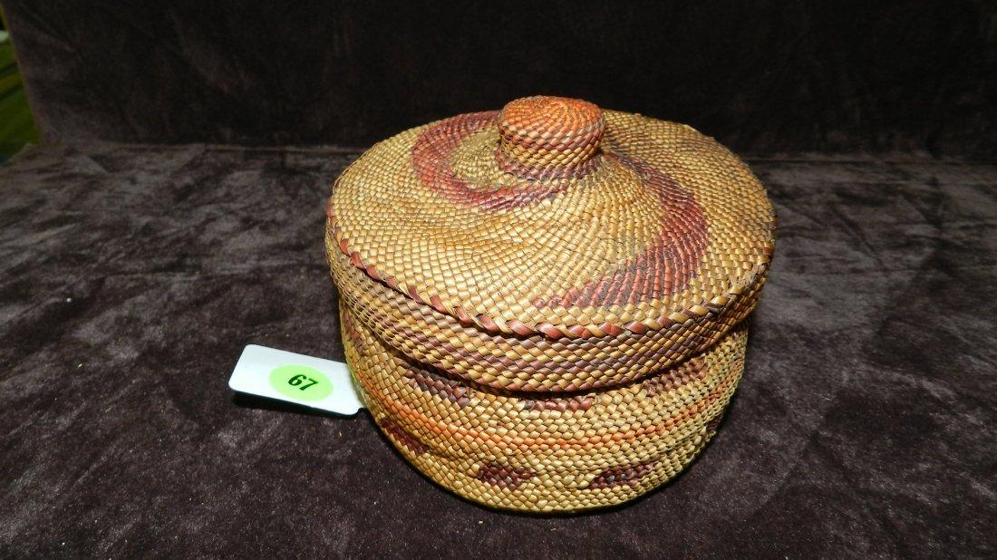 67: authentic Native American handmade woven basket / M
