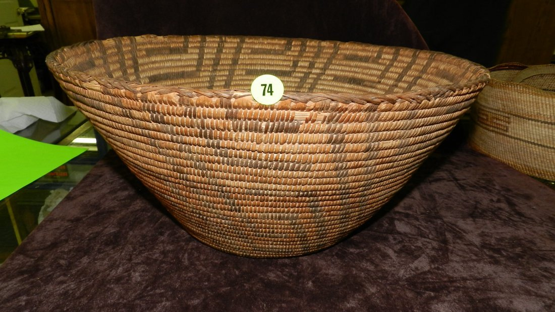 74: authentic Native American handmade woven basket, Pi