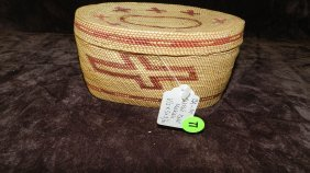 Authentic Native American Handmade Woven Basket, Ov