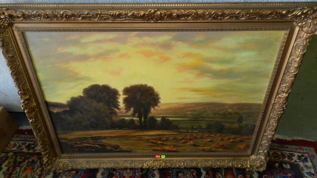83: oil painting on canvas by H. Hollyer? sunrise over