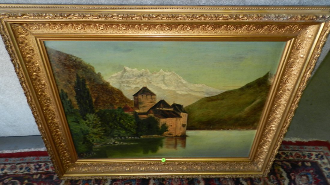 84: lovely antique oil painting on canvas, sign by the