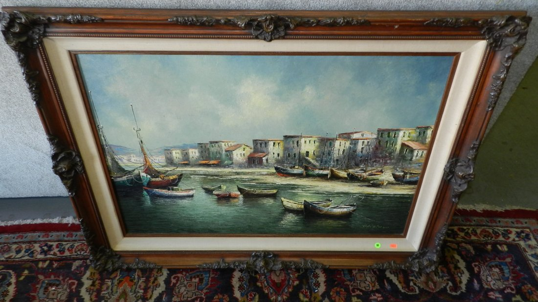86: stunning oil painting on canvas of Italian harbor b