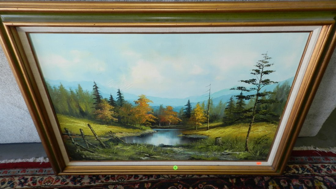 87: oil painting on canvas of country lake, signed, fra