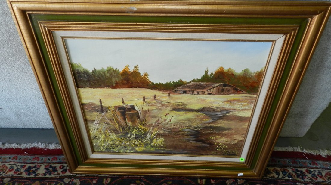88: oil painting on board signed Howell, country barn,