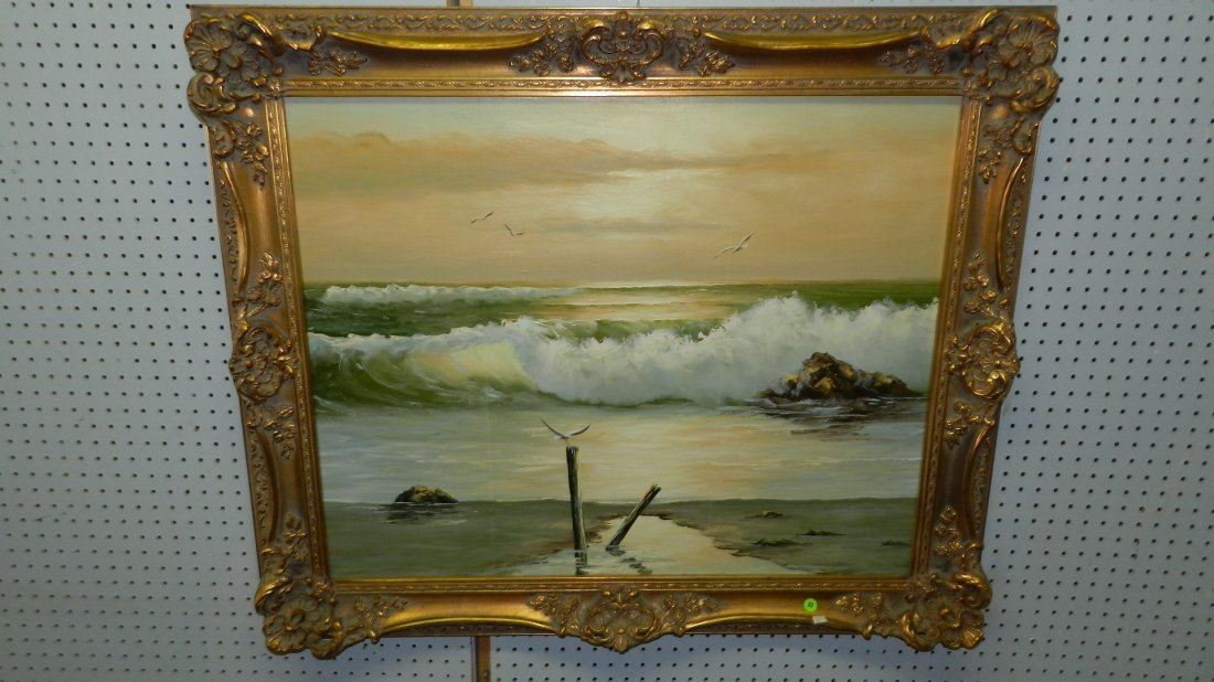 89: lovely oil painting on canvas signed Stevens, ocean