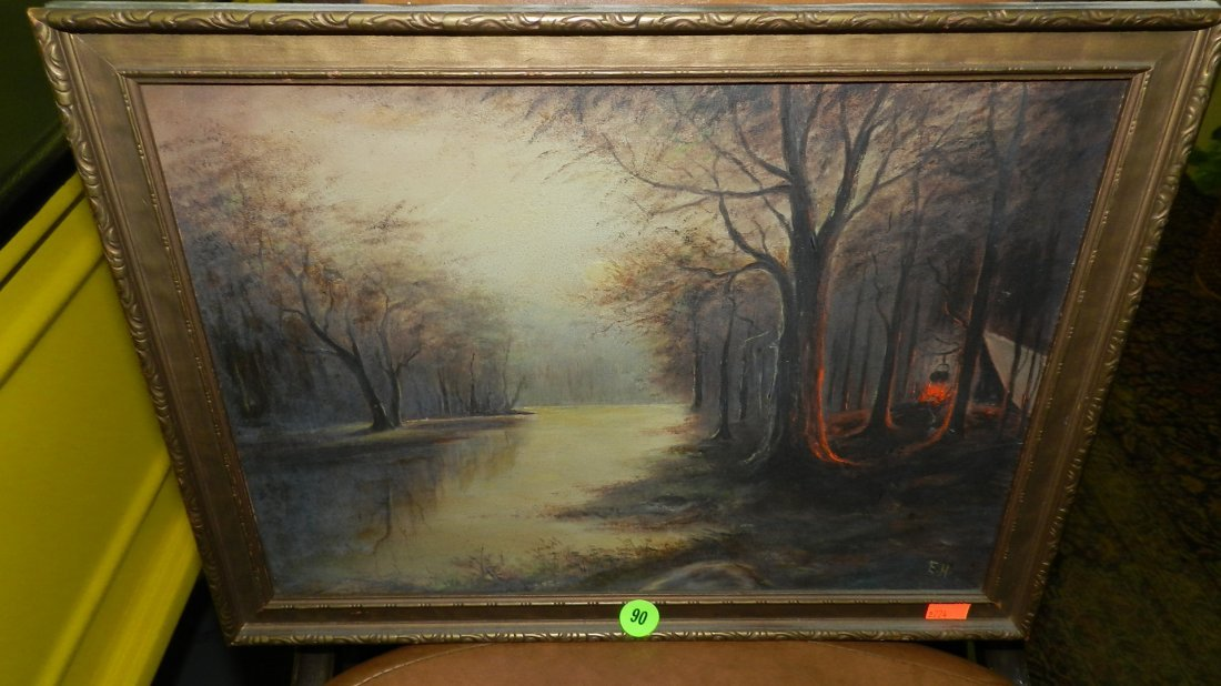 90: oil? painting? on board of camp fire along a creek