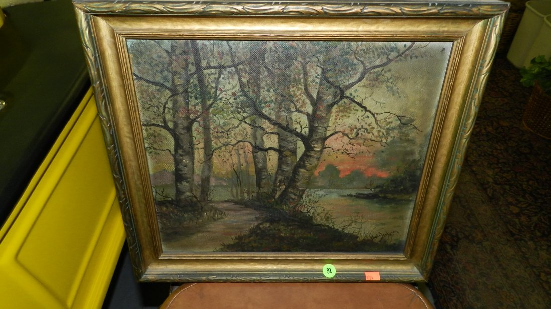 91: oil painting on board of trees and creek signed art