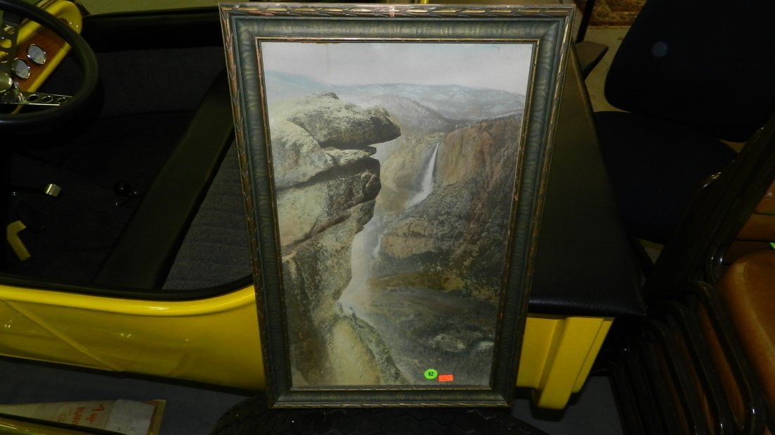 92: antique hand tinted photo of waterfall frame is 22