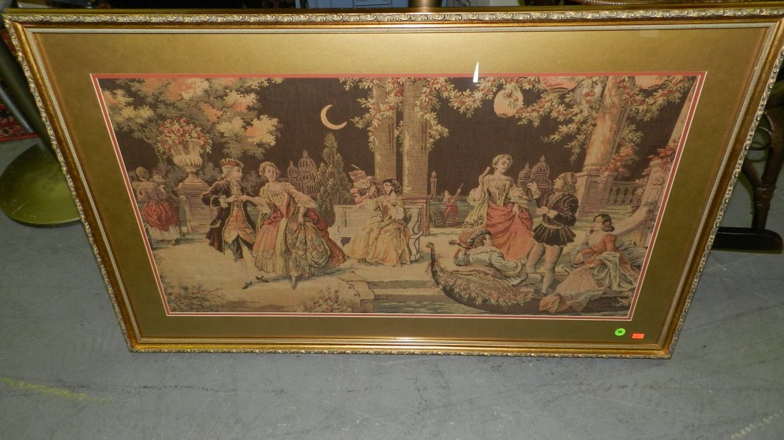 94: lovely framed tapestry of colonial scene