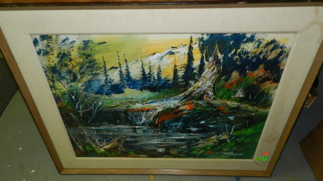 95: vintage acrylic painting on paper titled Mt. pool