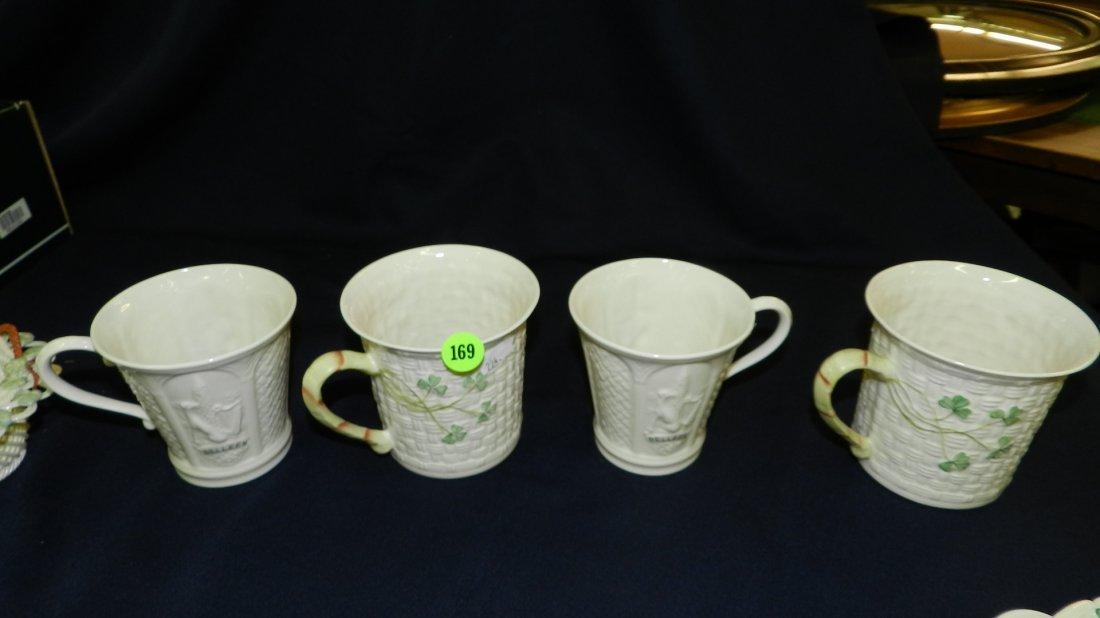 169: 4 piece Belleek porcelain cups