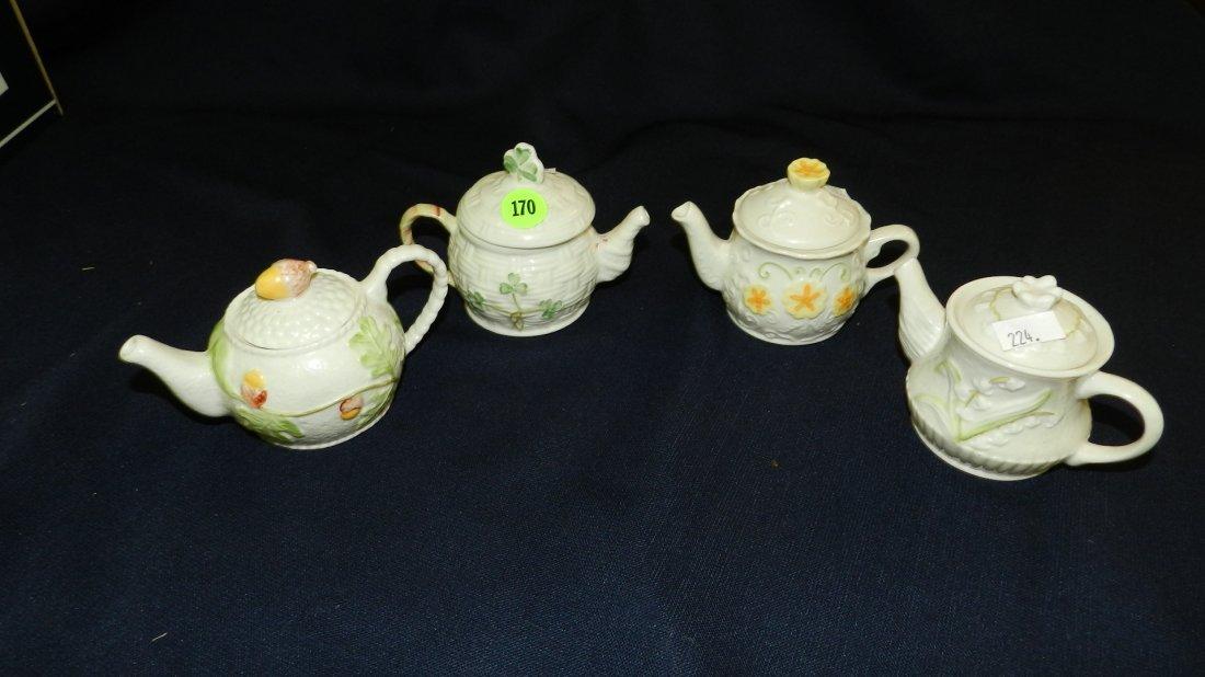 170: 4 piece Belleek porcelain small tea pots