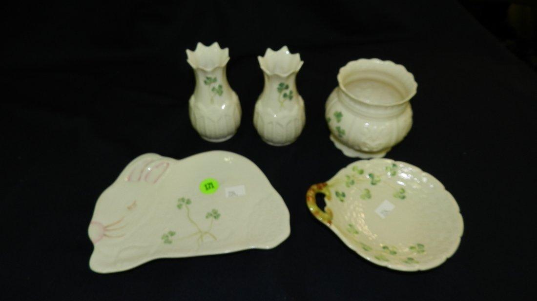 171: 5 piece Belleek porcelain items
