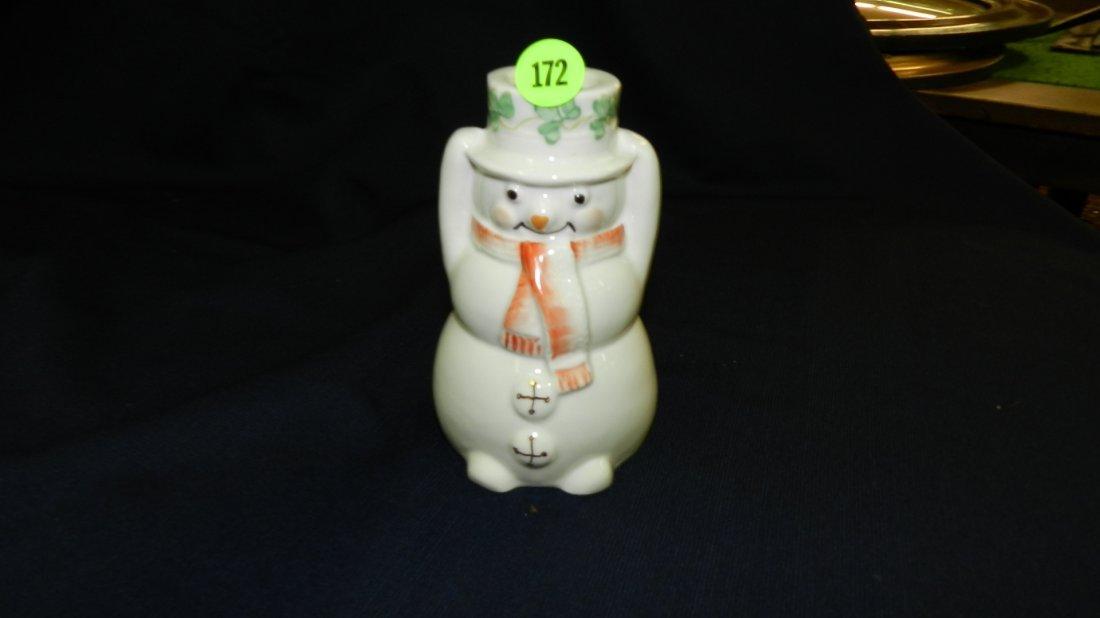 172: large Belleek porcelain snowman candlestick holder