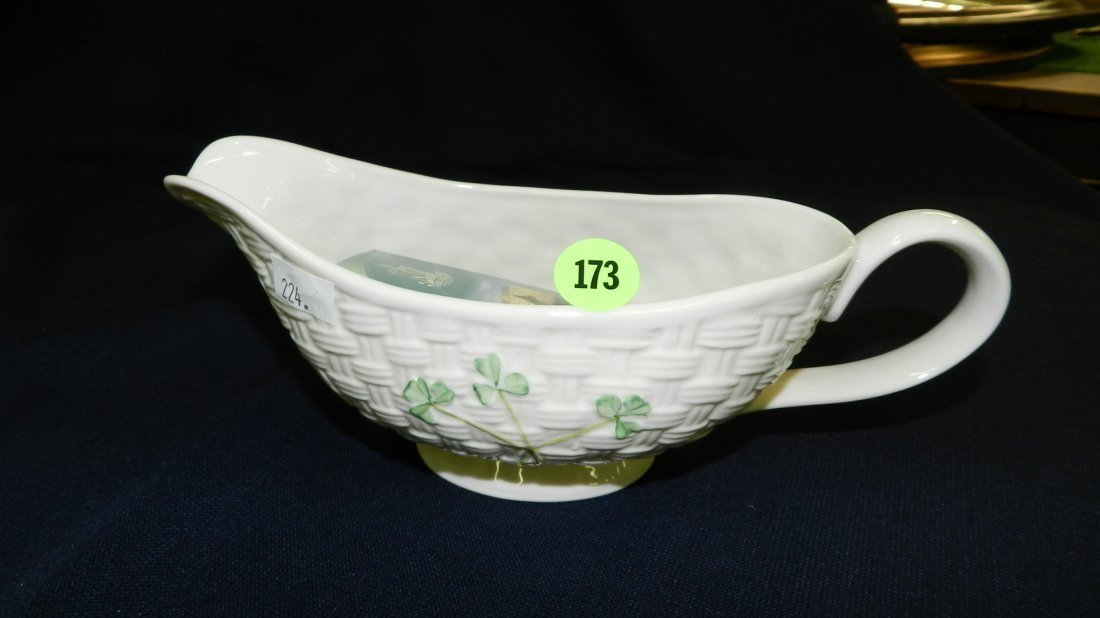 173: Belleek porcelain gravy boat