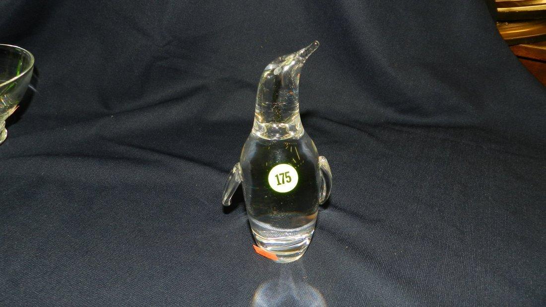 175: vintage signed Steuben crystal penguin