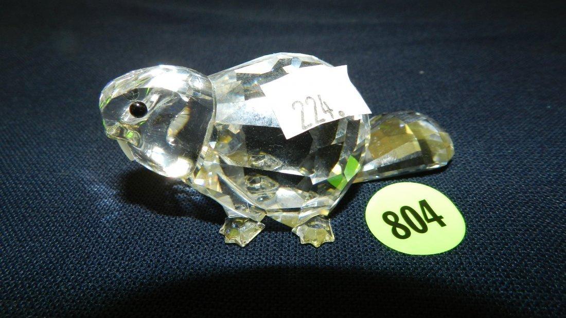 804: great stamped Swarovski crystal beaver figurine