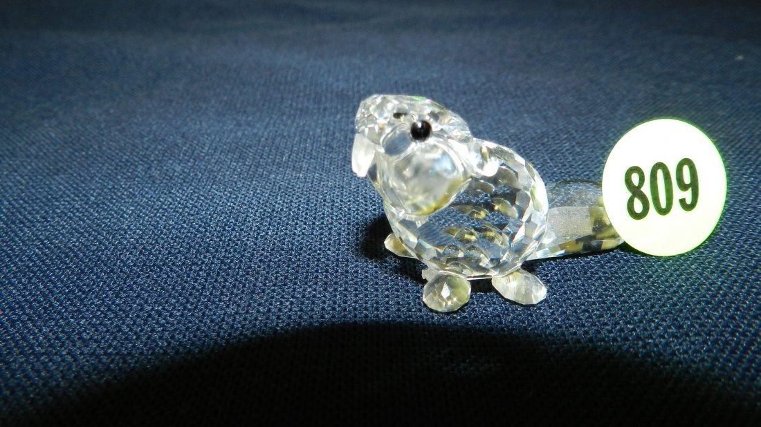 809: great stamped Swarovski crystal beaver figurine