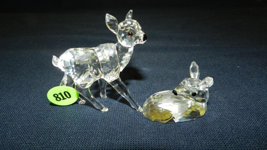 810: great stamped Swarovski crystal 2 piece deers figu