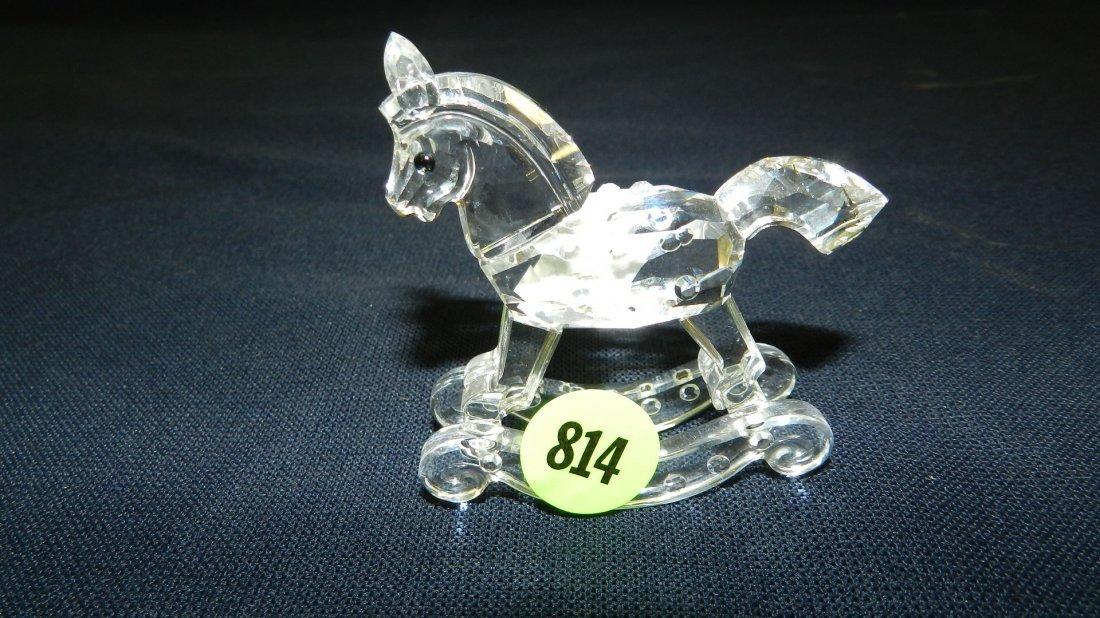 814: great stamped Swarovski crystal rocking horse figu