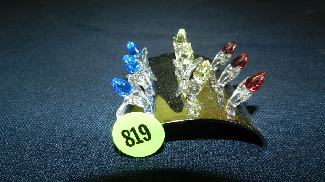 819: great stamped Swarovski crystal flowers figurine