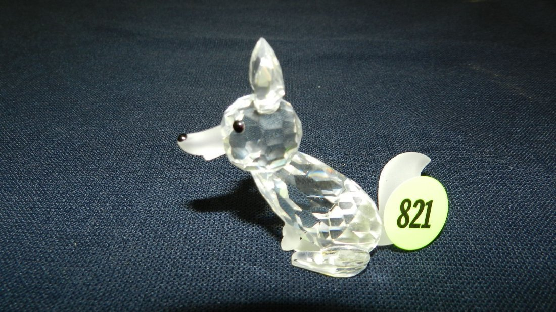 821: great stamped Swarovski crystal fox figurine
