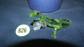 Great Stamped Swarovski Crystal Green Lizard With