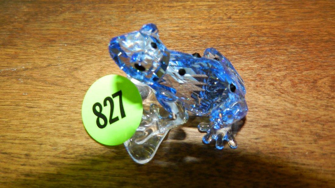 827: great stamped Swarovski crystal blue frog figurine