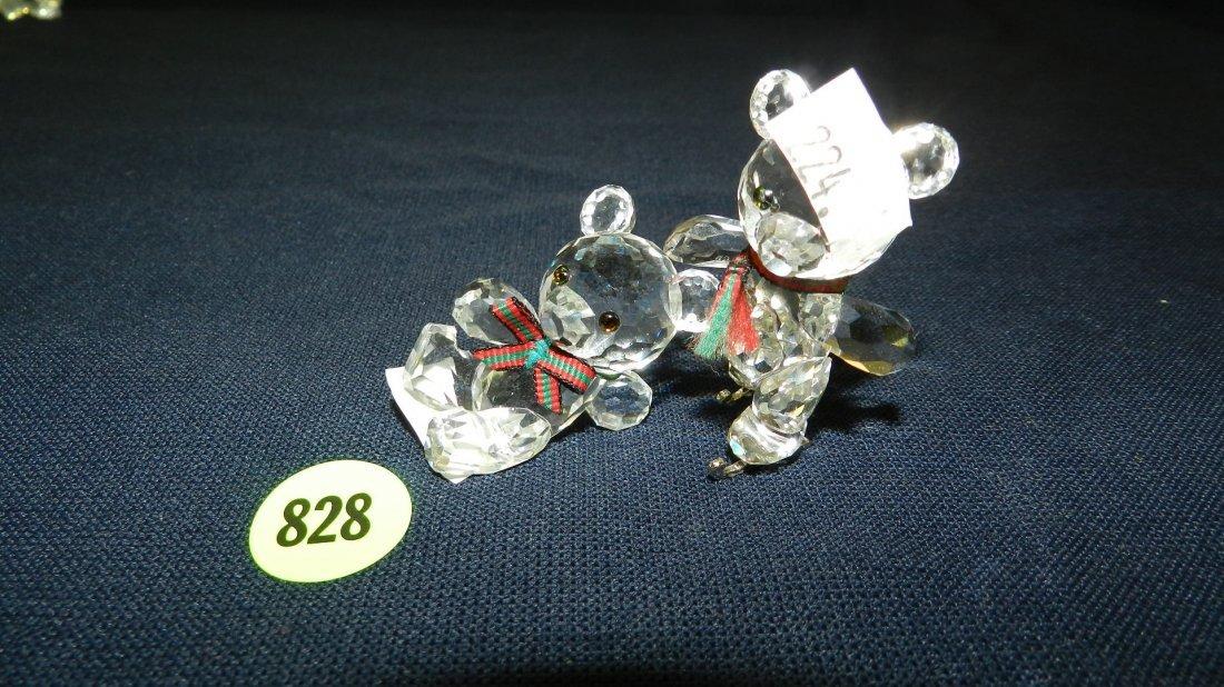 828: great stamped Swarovski crystal 2 piece bears figu