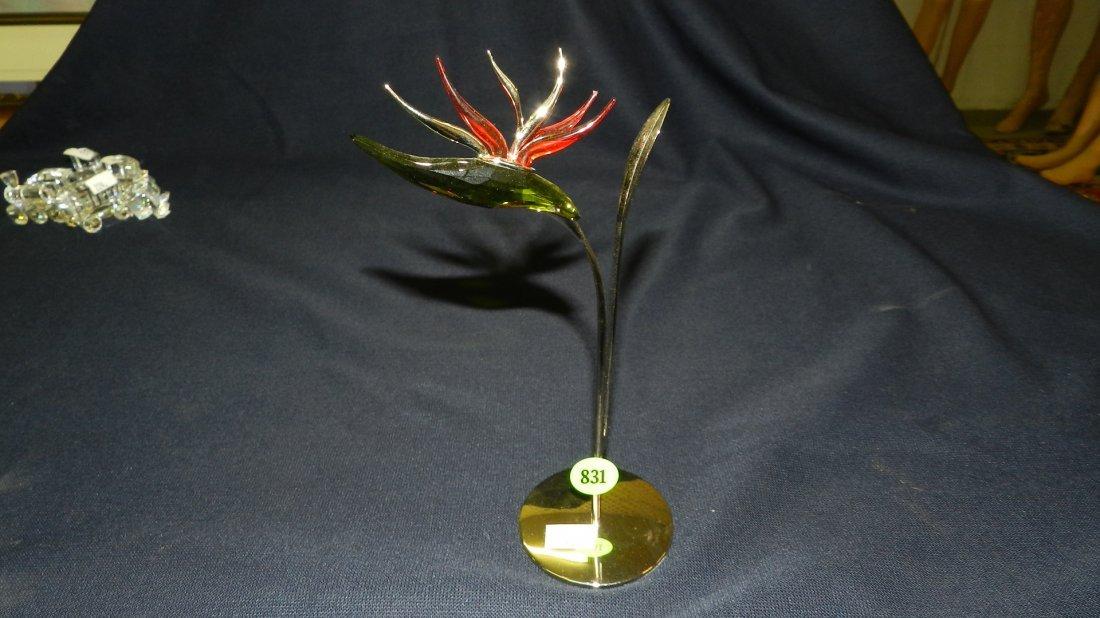 831: great stamped Swarovski crystal flower on stand fi