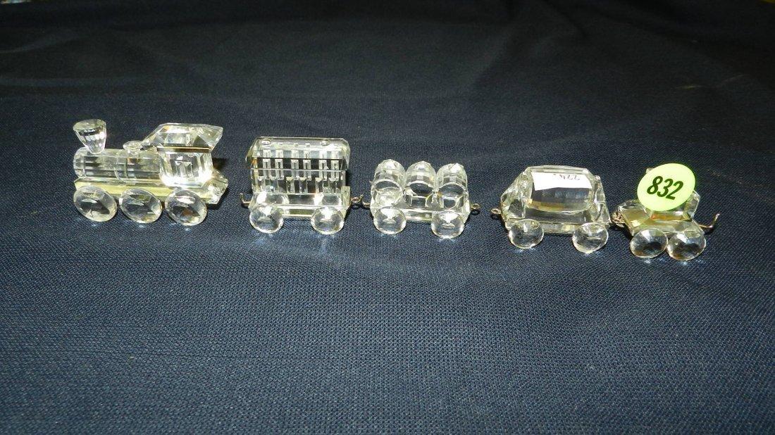 832: great stamped Swarovski crystal train set figurine